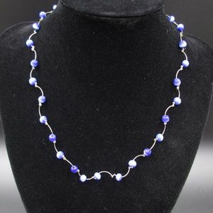 Jewelry - Vintage 16 Inch Blue Beaded Necklace